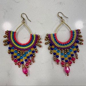 Colorful, Beaded, Statement Earrings